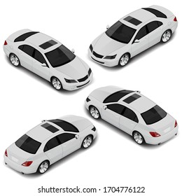 Isometric sedan car in four projections. Transport icons set.