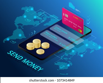 Isometric send money. Online Money Transfer Interface Concept. Modern technology and online transaction.