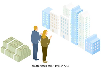 Isometric, senior men and women trying to buy an apartment