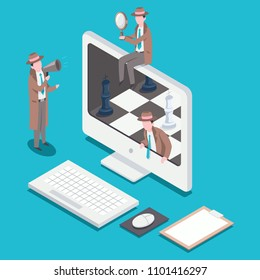 Isometric SEO optimization concept flat illustration with people. Detectives with a megaphone and a magnifying glass on a chessboard in a computer.