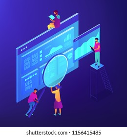 Isometric SEO specialists analizing data charts and magnifier. SEO technology and marketing, digital marketing strategy concept. Blue violet background. Vector 3d isometric illustration.