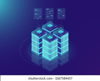 Isometric Server room and big data processing concept, datacenter and data base icon, digital information technology, neon dark gradient