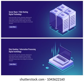 Isometric Server room rack, web hosting, cloud data storage, data handing, information processing, laptop digital technology vector illustration on ultraviolet background