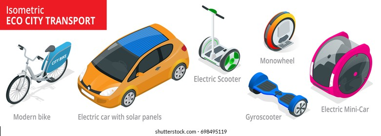 Isometric set of Alternative Eco Transport isolated on a background. Modern bike, electric car with solar panels, electric scooter, gyroscooter, monowheel, electric mini car