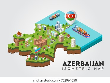 Isometric set Azerbaijan map 3D city three-dimensional summer town quarter. Skyscrapers, apartment, office, houses and streets with urban traffic movement of the car with trees and nature Baku city
