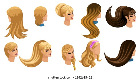Hairstyles Women Including Model Long Short Stock Vector Royalty