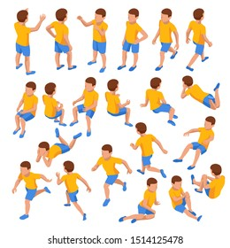 Isometric set of boys in different poses stands, runs, sits, lies and others on white background. Constructor set or creation kit