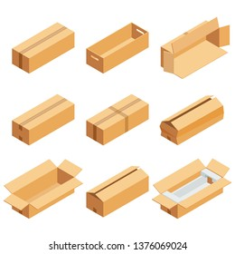 Isometric set of brown cardboard box isolated on white background. Isoleted vector illustration. Open and close empty carton packaging box of cartoon style for your bisiness design