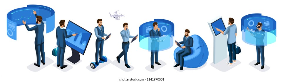 Isometric set of business men with gadgets, a large set of men working on virtual screens, virtual reality, smartphones, laptop, tablet.