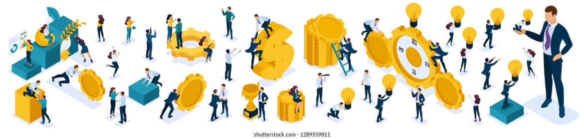 Isometric set of business people to create illustrations. People walk, jump, climb, work, watch