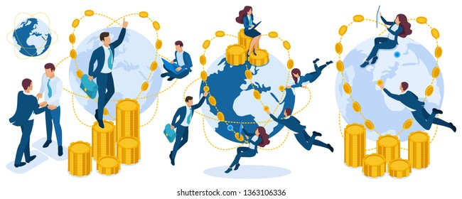 Isometric set of characters, young entrepreneurs during investment