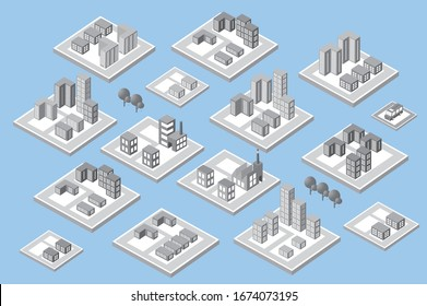 Isometric set city with skyscrapers with houses, streets and buildings 3d illustration