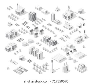 Isometric set city with skyscrapers with houses, streets and buildings