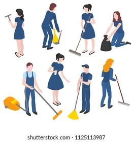 Isometric set of cleaning company staff with the equipment. Cleanup and housekeeping set