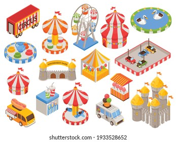 Isometric set of colorful icons with circus tent castle carousel food truck cars ferris wheel in amusement park isolated vector illustration