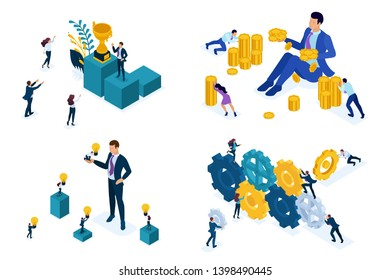 Isometric Set concept the mechanism of the team, selling ideas, investments, success. Modern vector illustration concepts for website