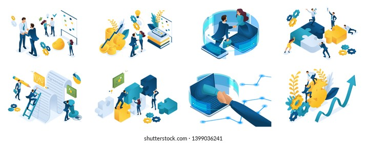 Isometric set of concepts on the topic of online cooperation, agreement, financing of projects, online consultation, partnership, joint project.