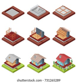 Isometric set construction stages of countryside house. Foundation pouring, construction of walls, roof installation and landscape design. Low poly model of rural real estate vector illustration.