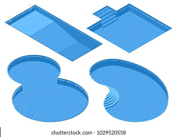 Isometric Set Different Forms Swimming Pools. Rectangular, Square, Double Round, Oval Pool.