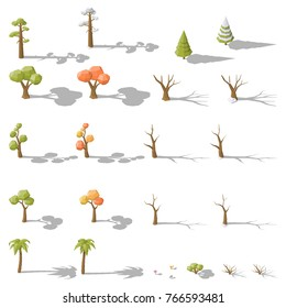 Isometric set of different low poly trees and shrubs vector graphic illustration design