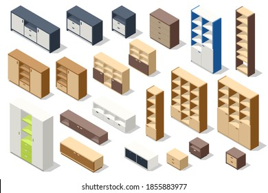 Isometric set of different stylish commodes and modern wardrobes isolated on white. Furniture for wardrobe