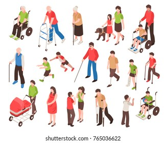 Isometric set with disabled people in wheelchair, with prosthetic limbs, blind and elderly persons isolated vector illustration