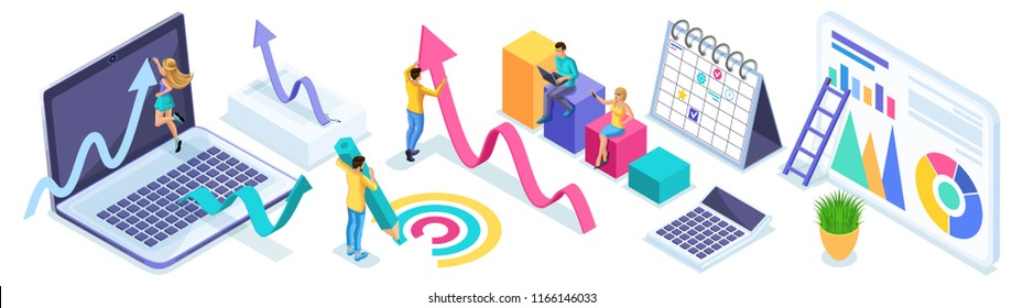 Isometric set of entrepreneurs in the process of work, diagrams, analytics and reports. Icons for creating advertising concepts and web banners.