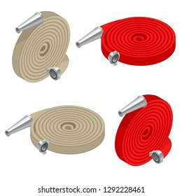 Isometric set of fire hoses. Fire safety and protection. Rolled into a roll, red fire hose with aluminum connective couplings isolated. Vector illustration
