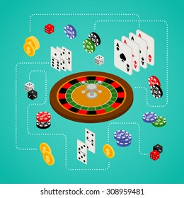Isometric set of gambling and casino items - roulette, poker chips, playing cards, dice, domino, coins, isolated on white background