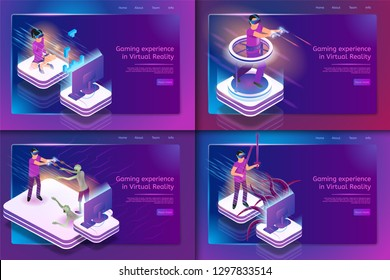 Isometric Set Gaming Experience in Virtual Reality. Vector Banner Image People Play Video Game Using Virtual Reality Glasses. Girl Playing Tetris, Guy Fighting Zombie Monster with Sword and Pistol.