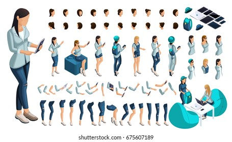 Isometric Set of gestures of hands and feet of a girl 3D teenager, student, modern jeans clothes. Create your character for vector illustrations.