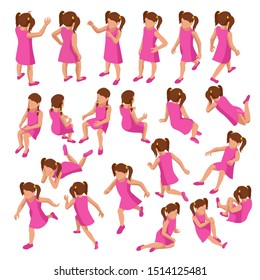 Isometric set of girls in different poses stands, runs, sits, lies and others on white background. Constructor set or creation kit