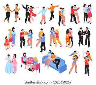 Isometric set of icons with homosexual gay and lesbian couples and families with children isolated on white background 3d vector illustration