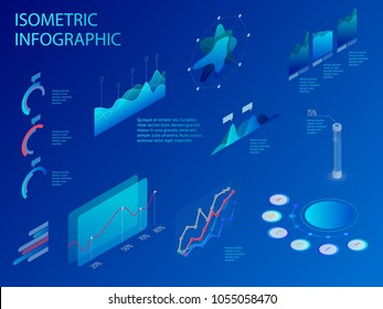 Isometric set of infographics with data financial graphs or diagrams, information data statistic and design elements