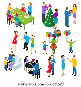 Isometric set of isolated people characters celebrating holidays with couples friend groups children colorful decorations balloons vector illustration