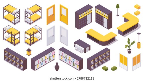 Isometric set of items for 3d hotel lobby, hostel. bunk bed, drawers for clothes, lobby, door, lockers.