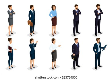 Business attire images stock photos vectors shutterstock isometric set of men and women in business attire of a corporate code of business cheaphphosting Image collections
