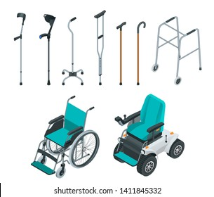 Isometric set of mobility aids including a wheelchair and electric wheelchair, walker, crutches, quad cane, and forearm crutches. Health care concept.