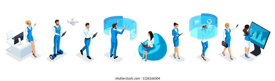 Isometric set of modern businessmen and business ladies with gadgets, smartphone, tablet, video shooting, laptop, drone quadrocopter, GyroScooter