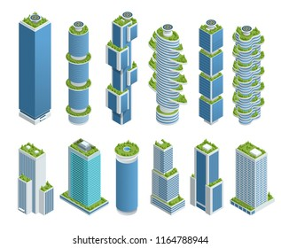 Isometric set of Modern Ecologic Skyscraper with many trees on every balcony. Ecology and green living in city, urban environment concept.