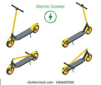 Isometric set of modern electric scooters isolated on white background. Urban transportation. Modern technologies.