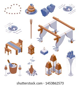 Isometric set of objects for decorating beach romantic dinner scene with candle lights, table setting and cake, heart shaped paper lanterns and tent with white curtains, good for couples engagement
