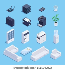 Isometric set of office equipment and furniture icons. 3d office sofa, file storage, router, data processing center,water cooler, PC processor and office copier. Vector illustration.
