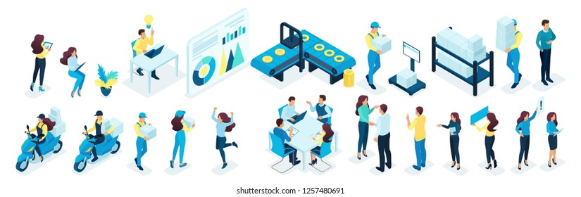 Isometric set of office and production staff, warehouse Staff, delivery service. Big set of vector illustrations.