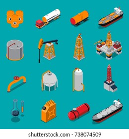 Isometric set with oil production and refinery, gas extraction and pipeline on blue background isolated vector illustration