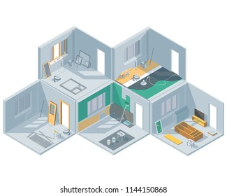Isometric set on the theme of room renovation. Furniture assembly. Laying of laminate and screed. Door installation. Wall painting.