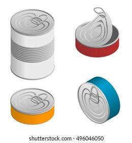 Isometric set of Opened and closed food tin cans with blank label isolated on white