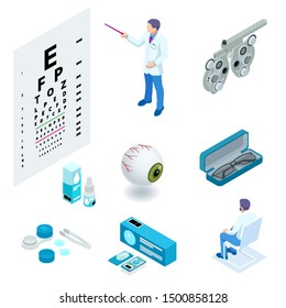 Isometric set of Ophthalmology and eye care icons. Medical helth equipment. Check eyesight for eyeglasses diopter.