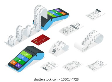 Isometric set of Payment Machine or POS Terminal with receipt records, design template of bill ATM, paper financial check for mockup.