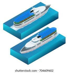 Isometric set of pleasure boat. Flat vector illustration of  pleasure boat tourist yacht to travel by sea transport